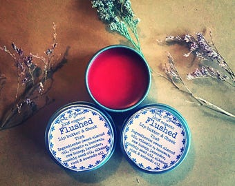 Flushed lip butter and cheek stain, cheek stain, lip stain, lip balm, cheek balm, skincare, blush, lip tint
