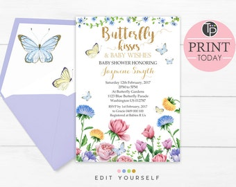 butterfly invitation  etsy, Baby shower