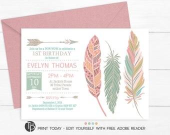 TRIBAL FEATHER Birthday Invitation, Instant Download Feather Invitation, Pow Wow Birthday Invitation, Feather Birthday Invitation, Tribal