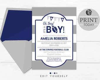 FOOTBALL BABY SHOWER Invitation, Instant Download, Football Invitation, Its a Boy Invitation, Boy Baby Shower Invitation, Edit yourself