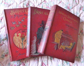 Bundle of three late Victorian books in red/dark red - vintage decor 1890's prop antique books library display decorative covers and spines