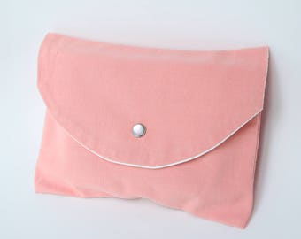Kit pink makeup, toiletries pouch handbag - coral - made from old fabric