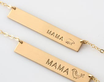 Mama Bear Necklace/ Mama Bird/ Mama Bar Necklace/ Momma Bear/ Gold Filled Personalized Bar/ Sterling,Gift for Mom/Her/LEILAJewelryShop,N293