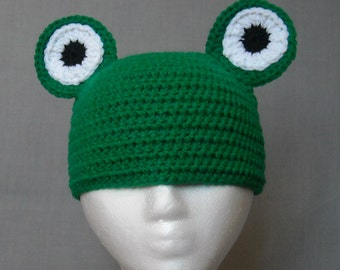 crocheted green frog beanie for child to small adult