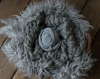 Heather Grey Newborn prop set - Faux Fur Stuffer, Thick and Thin Bump Blanket, Stretch Knit Wrap