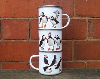Enamel Mug; Puffin illustrations by Alice Draws The line; a camping, hiking, walking, seaside / coastal tin cup to accompany your flask!