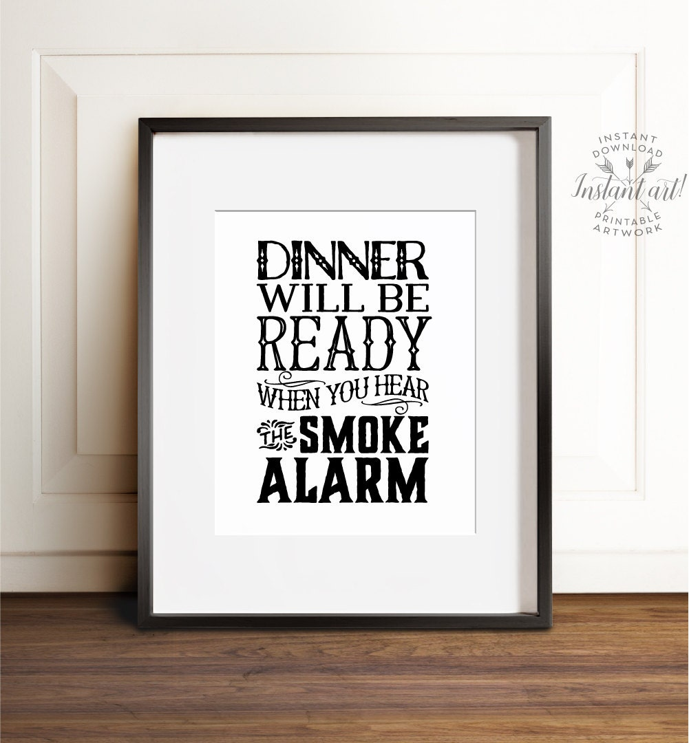 Kitchen wall art printable art funny kitchen prints dinner for Kitchen wall prints