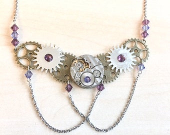 Purple steampunk necklace with antique watch dial, chains, Swarovski crystal