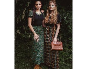 Beautifully Boho Green Floral Maxi Dress // 1960's Sixties // 1970's Seventies // Kadix // Bohemian Chic Hippie Boho Festival Fashion Gypsy