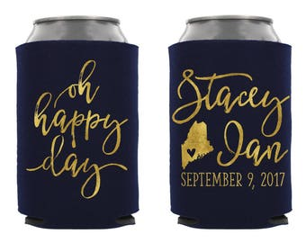 Oh Happy Day Wedding Can Cooler, Personalized Wedding Can Cooler, Custom Wedding Can Cooler, Wedding Favor, Can Hugger, Wedding Favor