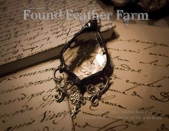 Handmade Vintage Crystal Teardrop Pendant with Silver Victorian Scroll Details