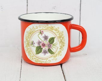 Vintage enamel mug Red flowers cup Rare camping mug Soviet enamel cup Enamelware cup Country home decor Floral pattern mug Antique Metal Cup