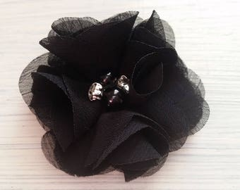 Black hair clips,flower hair clip,Baby flower hair clips,chiffon,black flower,baby hair clips,hair accessory,hair barrette,flower hair pins
