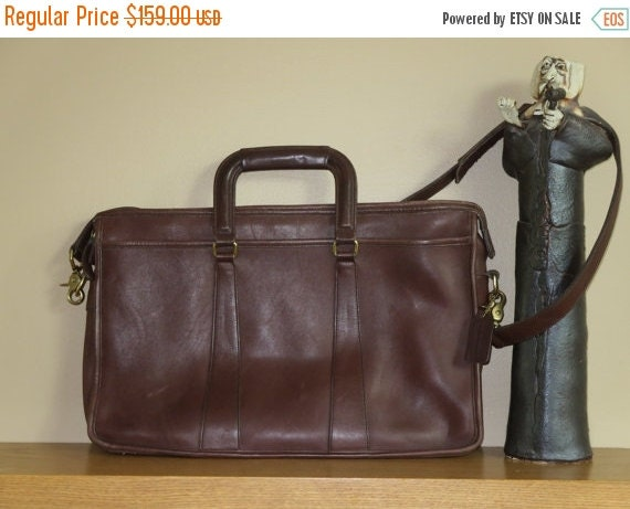 Football Days Sale Vintage Coach Embassy Mahogany Leather Briefcase Laptop IPad Carrier No 5282 - VGC Made in U.S.A.