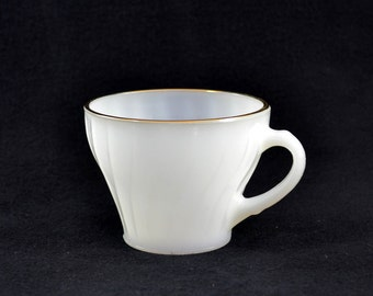Vintage Anchor Hocking Fire King Milk Glass Swirl Coffee Cup