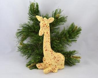 Vintage Ceramic Giraffe, Yellow And Rust Speckle Glaze Giraffe