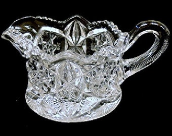 Antique McKee EAPG Glass Pres-Cut Creamer Early 1900s Ornate Pressed Pattern