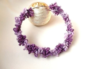 Crochet necklace Ombre purple necklace Modern crochet necklace Crochet jewelry Knited necklace Fiber necklace Choker Lilac necklace