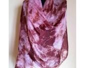 Brown Pink Handpainted Silk Scarf, Silk Summer Scarf, Shibori Silk Scarf, Original, Silk Painting.