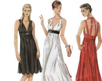 "Evening Gown Pattern Halter Dress Empire Waist Dress VOGUE V8447 FF bust 29.5-32.5"" Prom Dress Pattern Plunging Neckline Strappy Dress"
