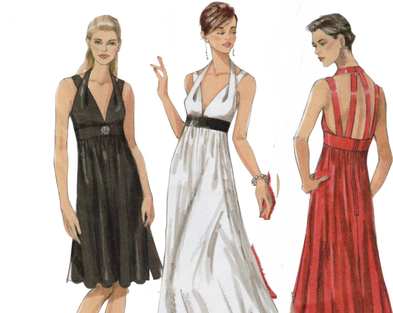 Evening Gown Pattern Halter Dress Empire Waist Dress VOGUE