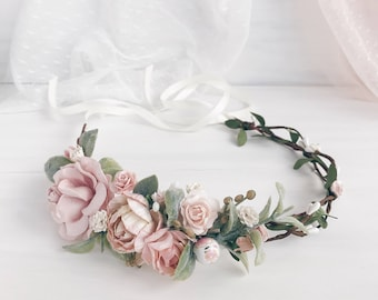 Bridal flower crown, Bridal floral crown, Floral wedding crown, Wedding flower headpiece, Wedding flower crown, Boho wedding