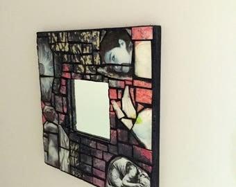 mixed media mosaic, mirror, small mirror,