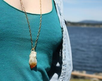 Citrine wire wrapped crystal necklace