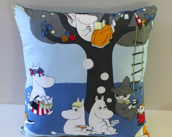 Moomin decor pillow, Handmade Moomin decor pillow. Snufkin decor pillow. Moomin Valley decor cushion.Blue Throw  pillow.