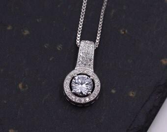 Sterling Silver Elegant Bling CZ Crystal Encrusted Pendant Necklace 18''  z51