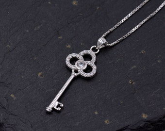 Sterling Silver Key Design Pendant necklace with Sparkly CZ Crystals 18''  z65