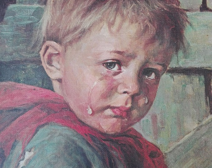 Bragolin crying Boy on wood