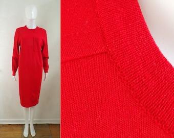 40%offJuly25-27 red knit dress size small/medium, 80s liz claiborne designer light sweater dress, minimalist 1980s acrylic & wool dress