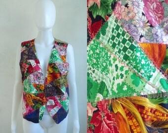 handmade patchwork vest size large, 80s floral paisley mixed print open front vest, 1980s womens waist coat