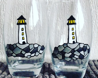 1 Lighthouse Tumbler / Hand Painted Glass / Tall Glass / Unique Gift / Personalised / Gift Idea / Glassware / Glass Art