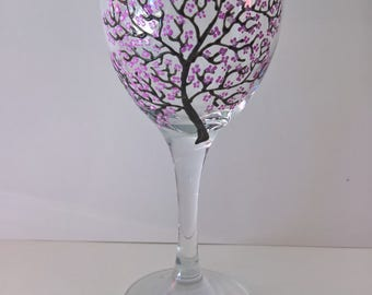 1 Cherry Blossom Wine Glass / Hand Painted Glass / Cherry Blossom / Tree / Blossom / Glassware / Glass Art / Personalized Glass