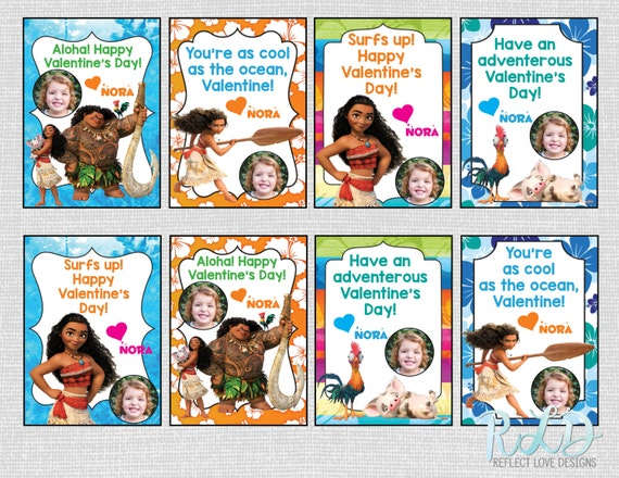Printable Disney Moana Valentine Cards for Kids