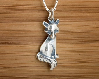 Sitting Fox charm or Earrings- STERLING SILVER- Chain Optional