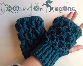 New Design ****** Handmade crochet Dragon scale Fingerless wrist warmers mittens gloves children adults