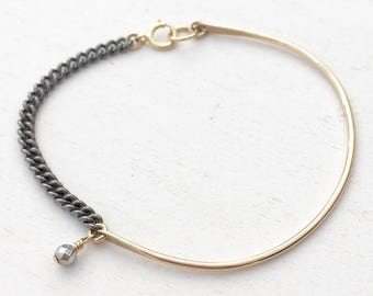 Chain Cuff Bracelet  |  Mixed Metal Bracelet  |  Minimalist Jewelry