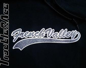 French Valley Glitter Unisex Sweatshirt Softball Baseball Hoodie Spirit Wear FVBSA Spiritwear Black Silver Glitter Adult & Youth