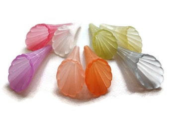 Lucite Trumpet Flower Bead, 4 pc - Long, Fluted, Spring, Romantic, Dangles, Lightweight, Earrings