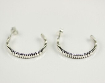 Native American Indian Jewelry Handmade Sterling Silver Hoop Post Earrings