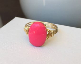Hot Pink Ring   Large Hot Pink Ring   Oval Pink Ring   Hot Pink Jewelry   Pink and Gold Ring   Gold and Pink Ring   Ring Gift   Cute Ring