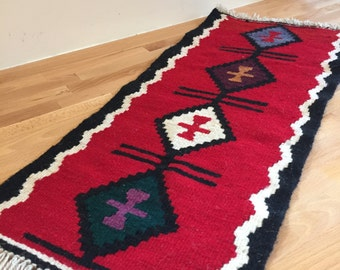 Vintage Small Turkish Kilim Table Runner | All Wool Decorative Tabletop Rug | Holiday Centerpiece | Red Black Green Purple Diamond