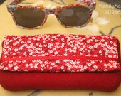 Harris Tweed Red Glasses Case, Liberty Mitsi Valeria fabric, Sunglasses Case Women, Liberty Spectacle Case, Tweed Pouch, Red Gifts for Girls