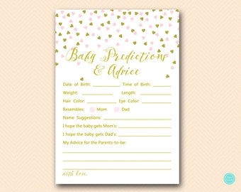 Pink and Gold Baby Predictions and Advice Printable, Predictions for Baby, Baby Prediction, Baby Shower Game, Baby Shower Activities TLC488P