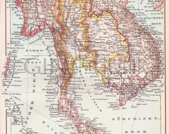 Antique Map of East India featuring Cambodia and wider areas