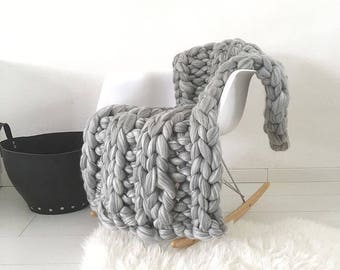 Knitted blanket Grey marbled