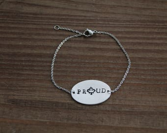 PROUD - hand stamped Canadian - maple leaf proud bracelet.